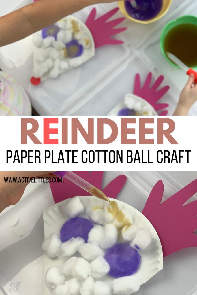 reindeer paper plate cotton ball craft