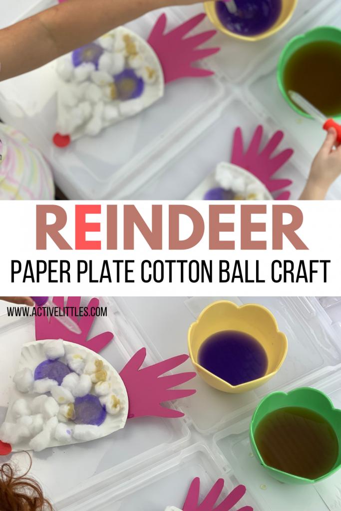 reindeer paper plate cotton ball craft for kids