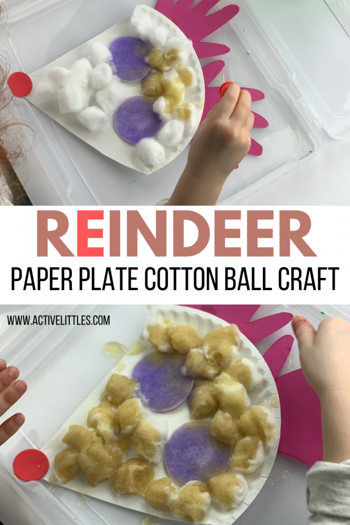 reindeer paper plate cotton ball crafts for kids