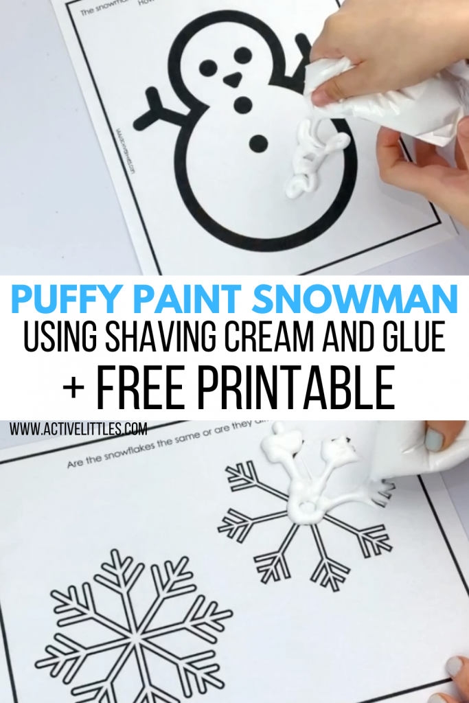 snowman puffy paint activity for kids