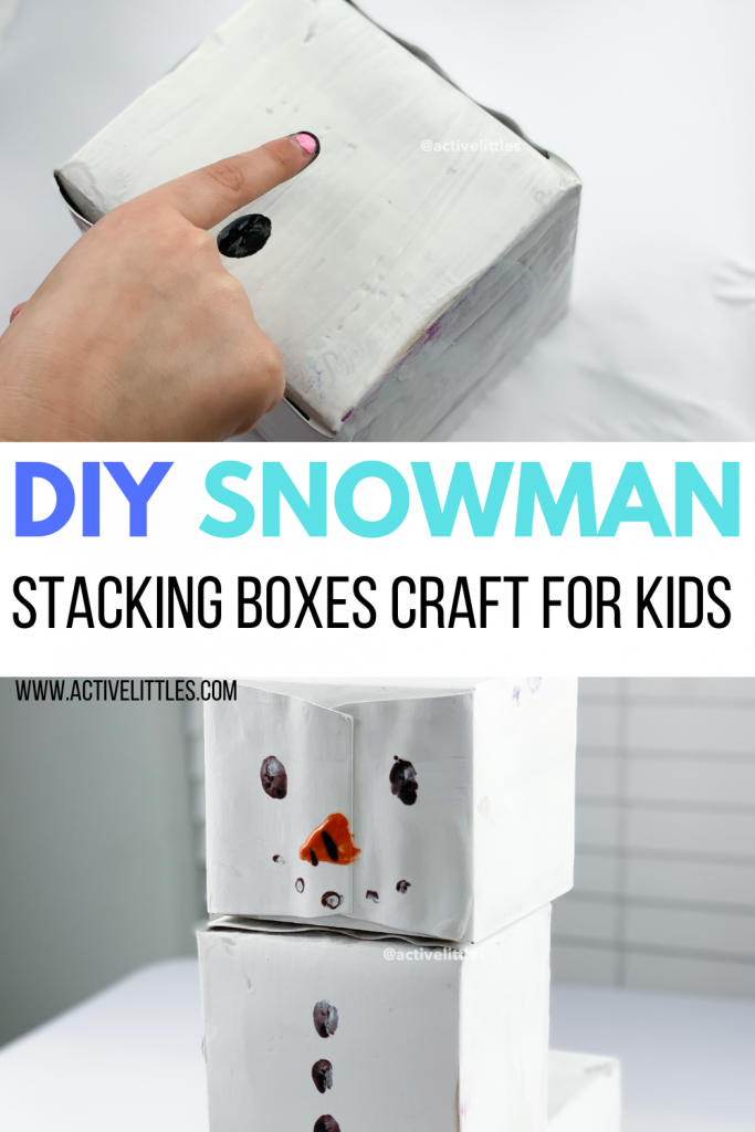 snowman stacking boxes kids activity