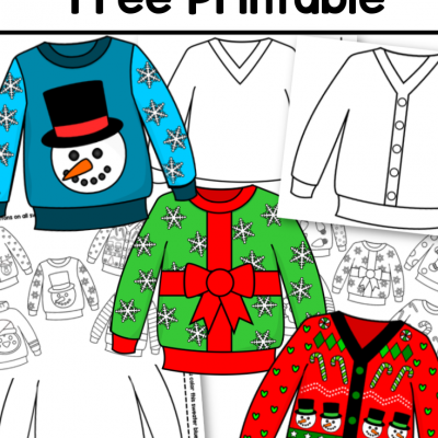 ugly sweater toddler preschool free printable