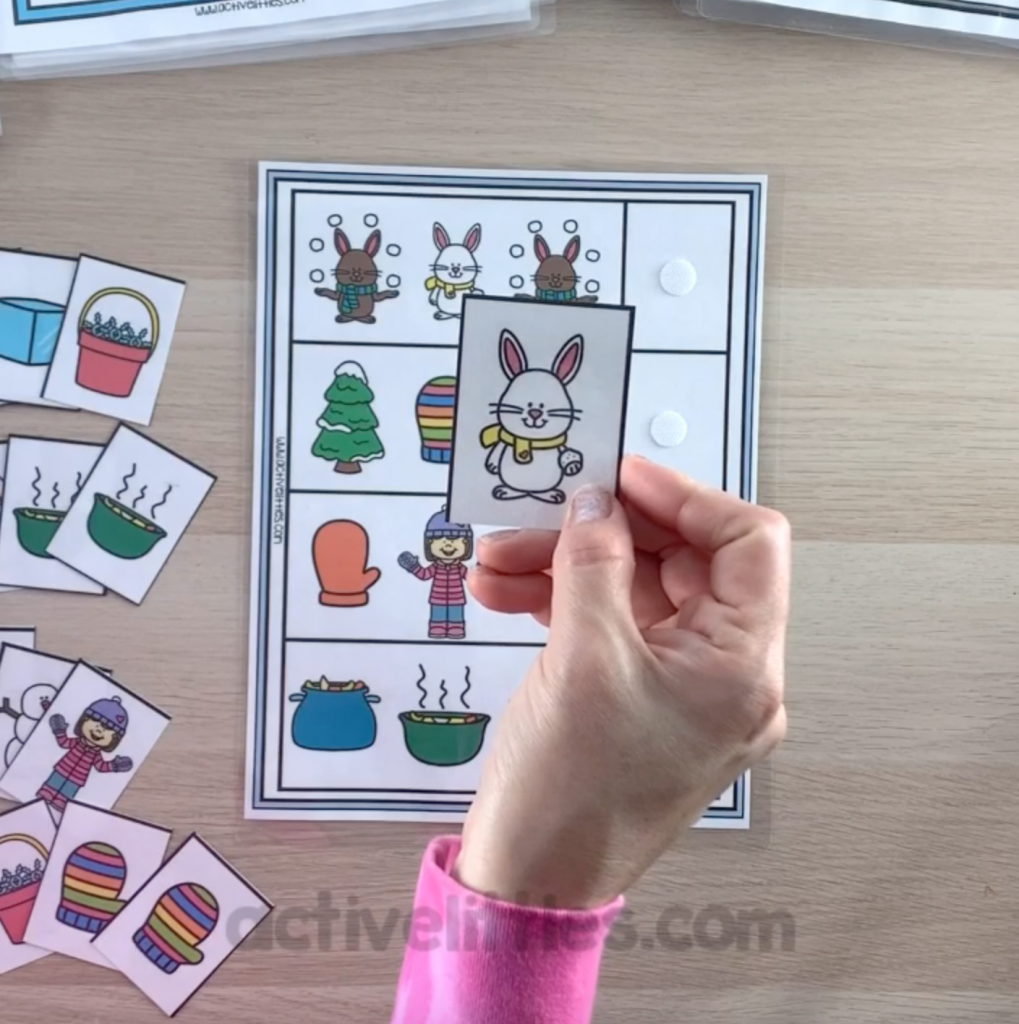 winter busy bins for kids learning at home