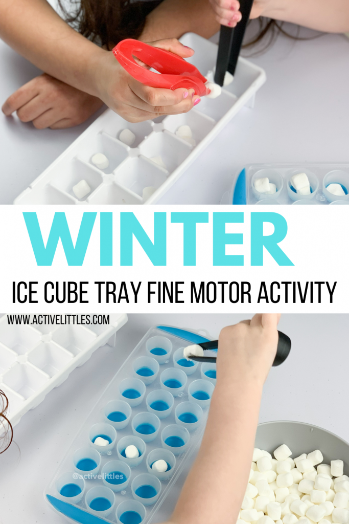 winter ice cube tray fine motor activity for kids