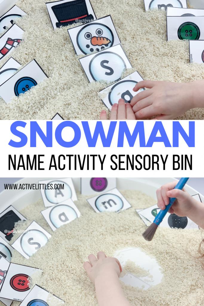 diy snowman name activity sensory bin