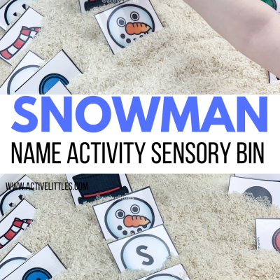diy snowman sensory bin name activity preschool