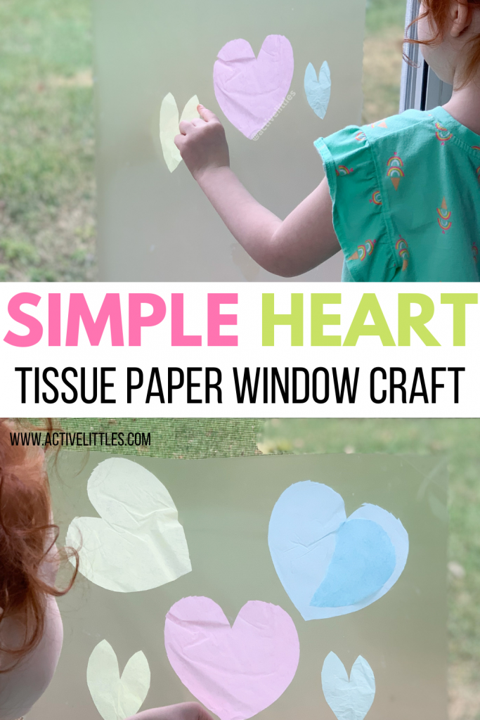 easy heart tissue paper window craft for kids