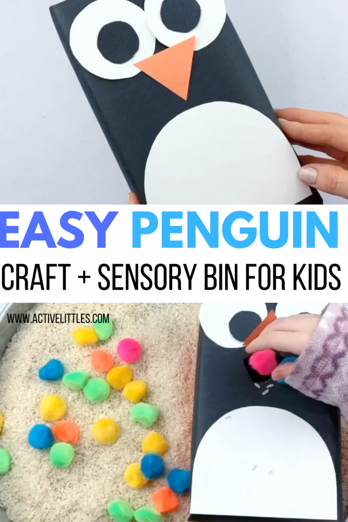 easy penguin craft and sensory bin