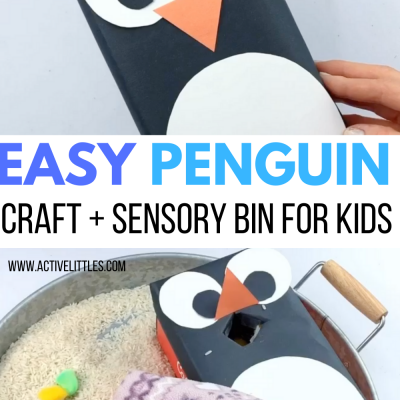 easy penguin craft for kids and penguin sensory bin for kids