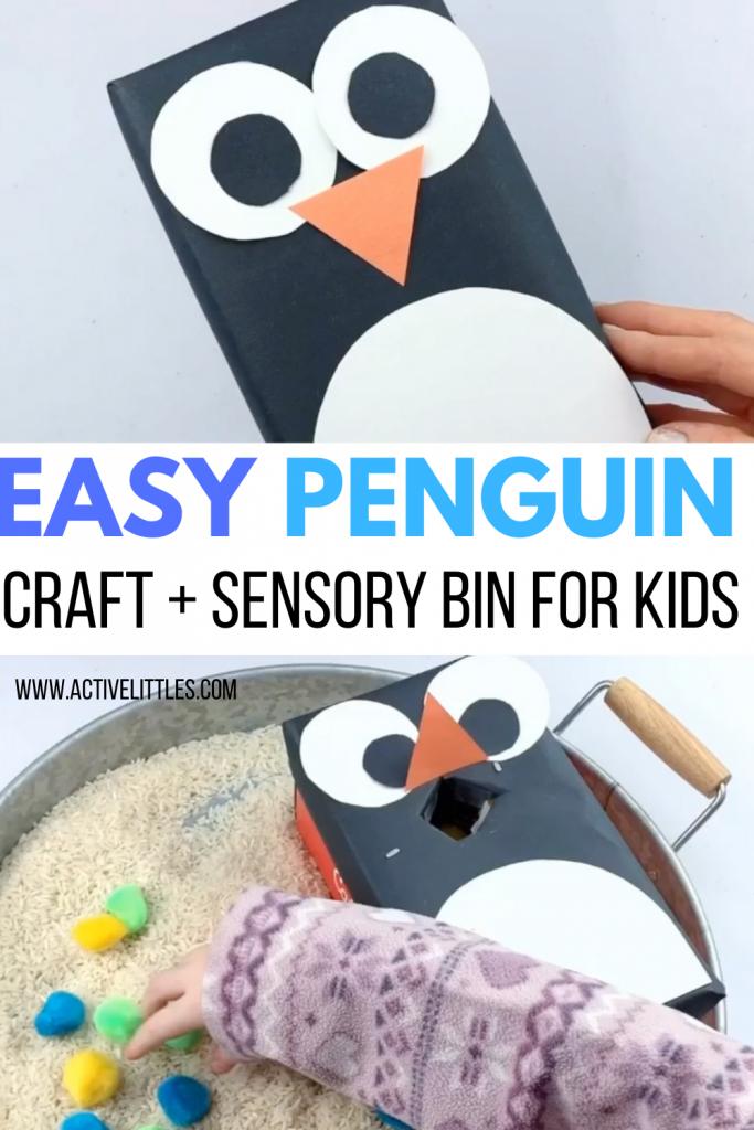 easy penguin craft for kids and penguin sensory bin for kids