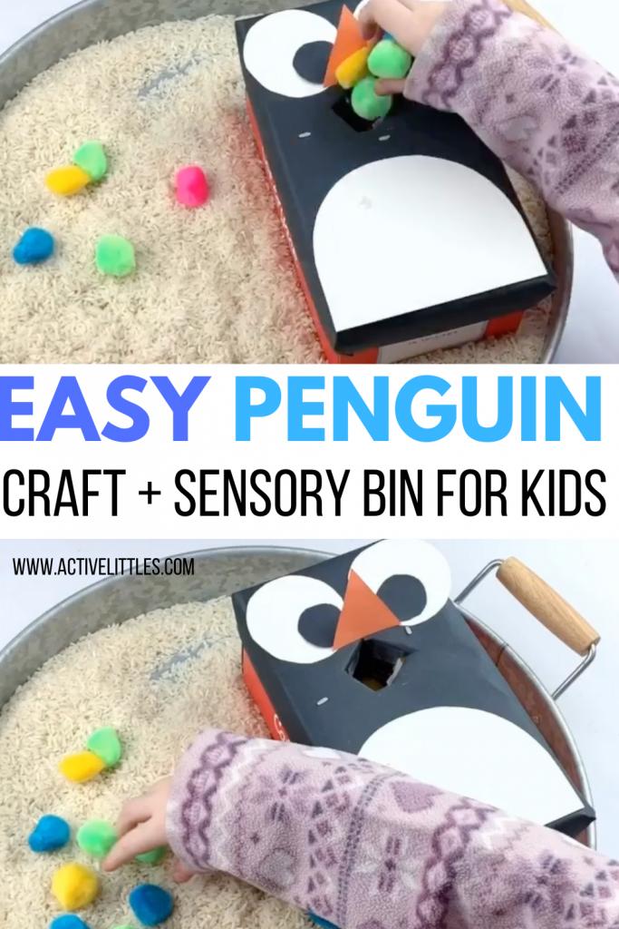 easy penguin craft for kids and sensory bin