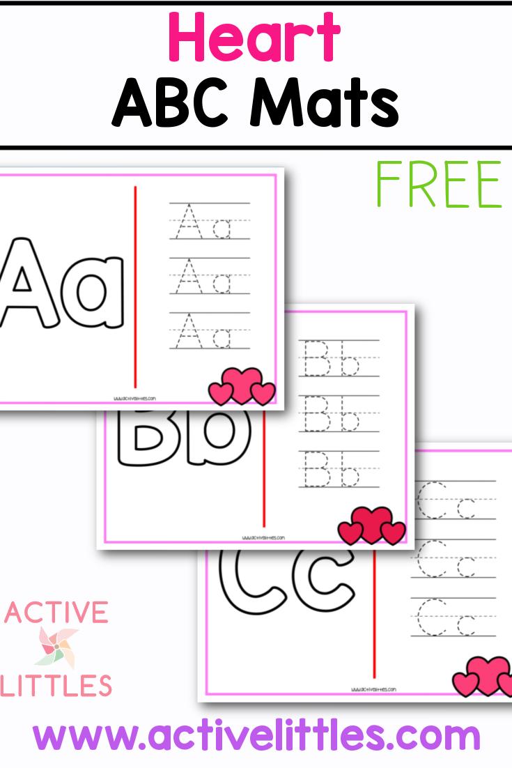 heart alphabet mats free printable