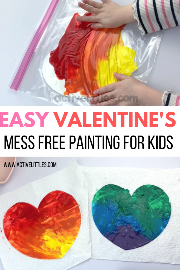 heart mess free painting for kids
