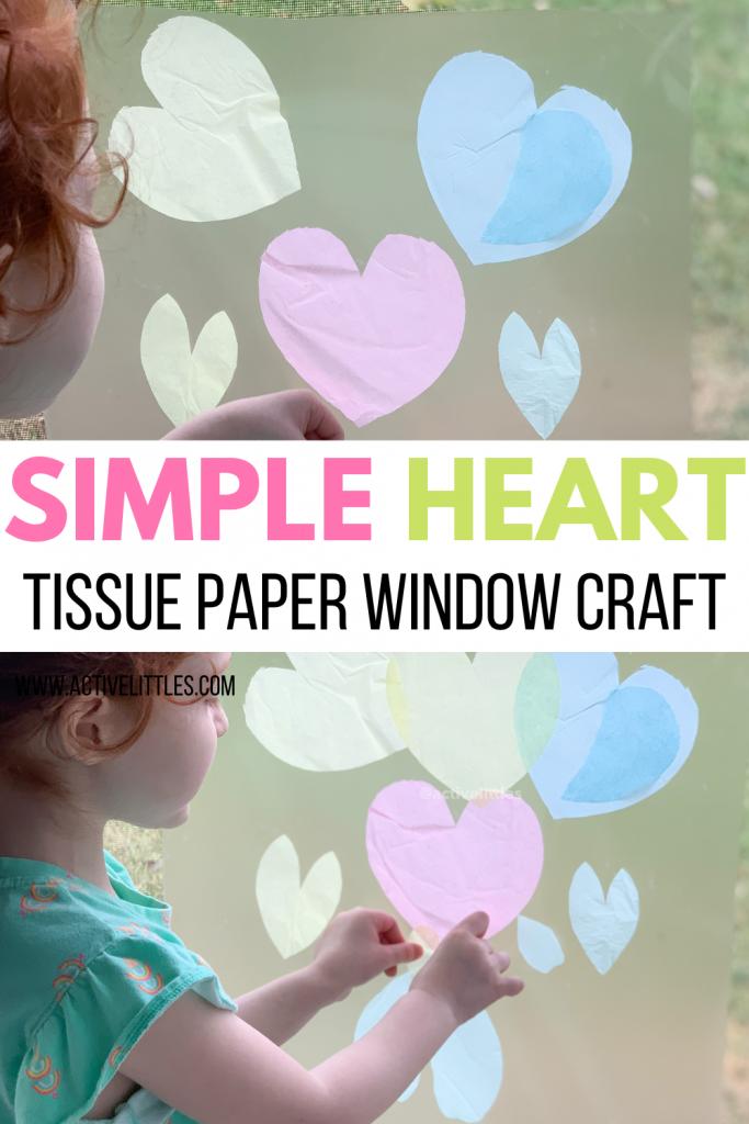 heart window tissue paper crafts for kids