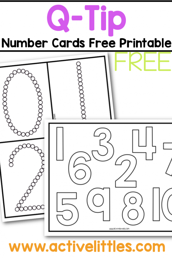 qtip number cards free printable for kids