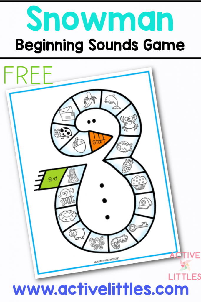 snowman beginning sounds free pritnable for kids
