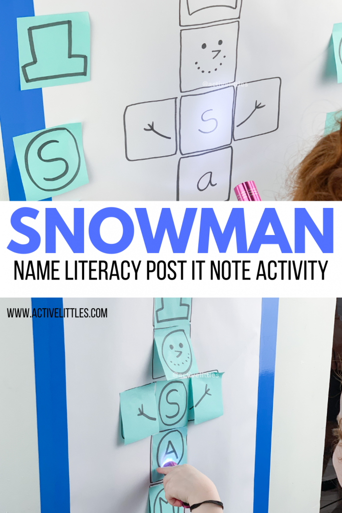 snowman name literacy post it note activity