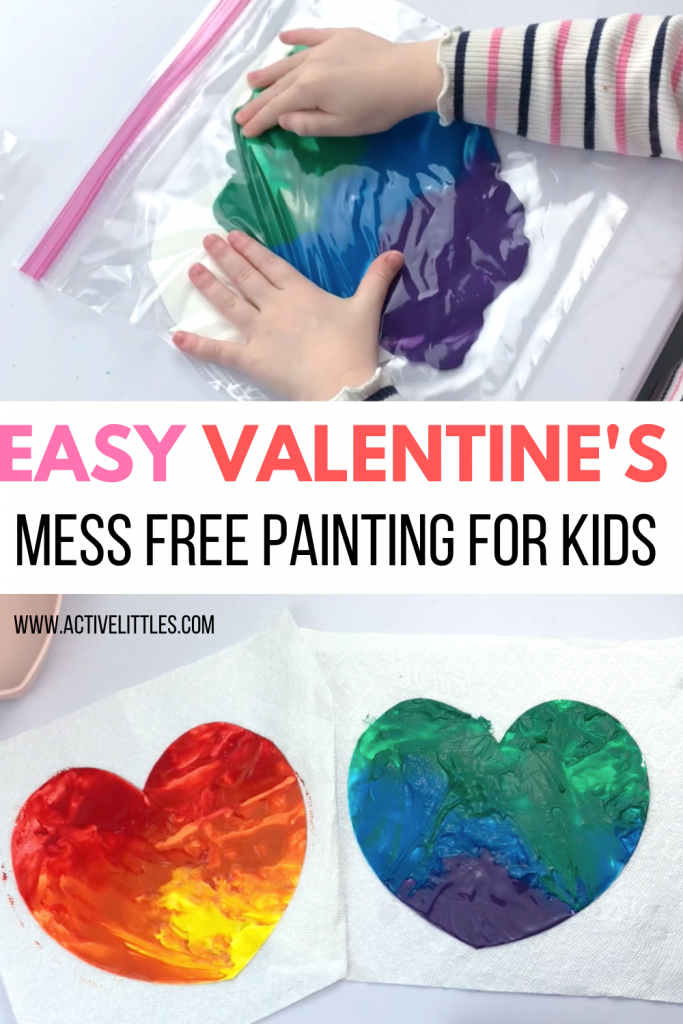 valentine's day mess free painting for kids