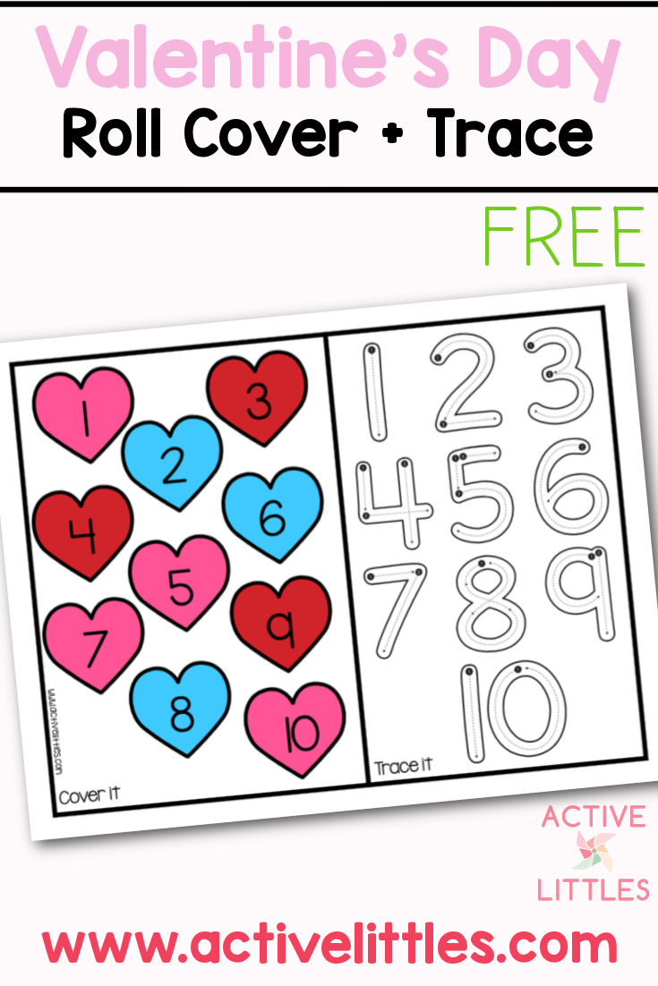 valentines day roll cover and trace free printable