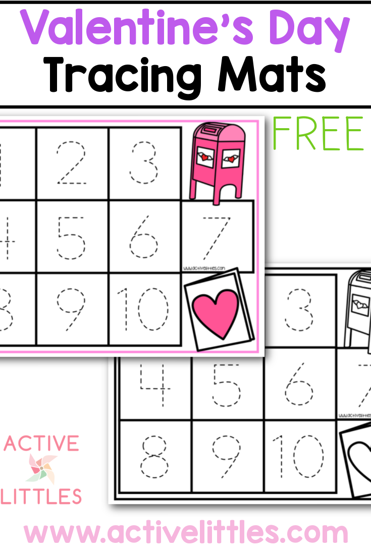 valentines day tracing mats free printable