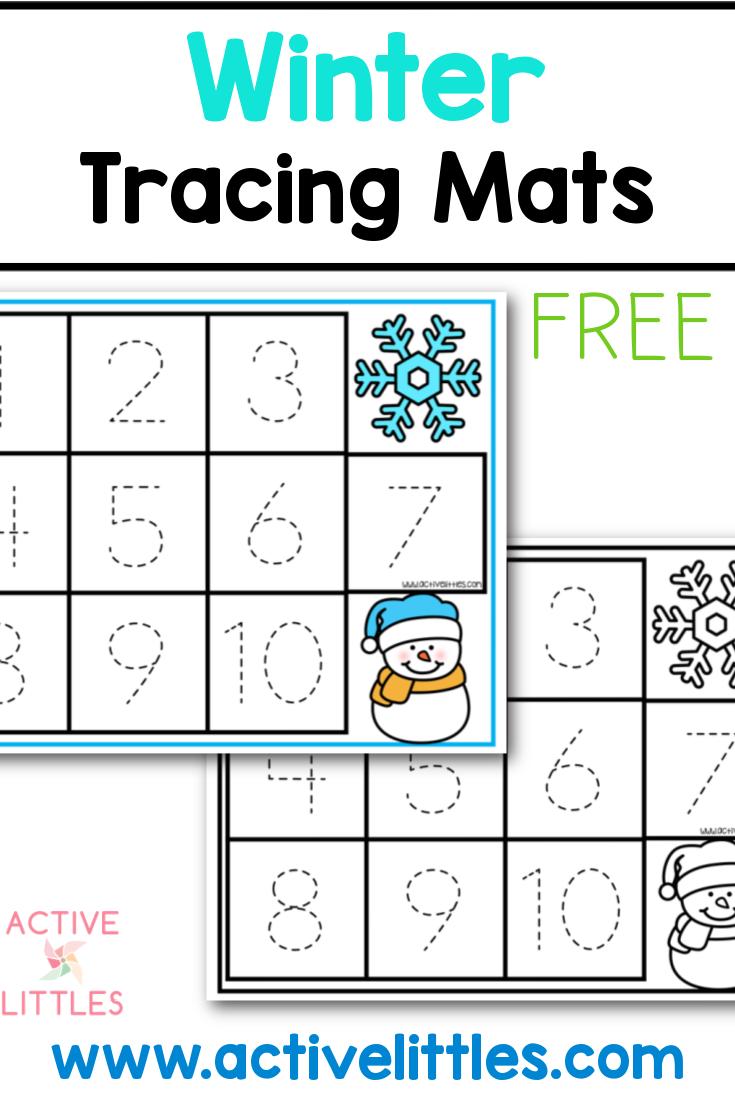 winter tracing mats free printable