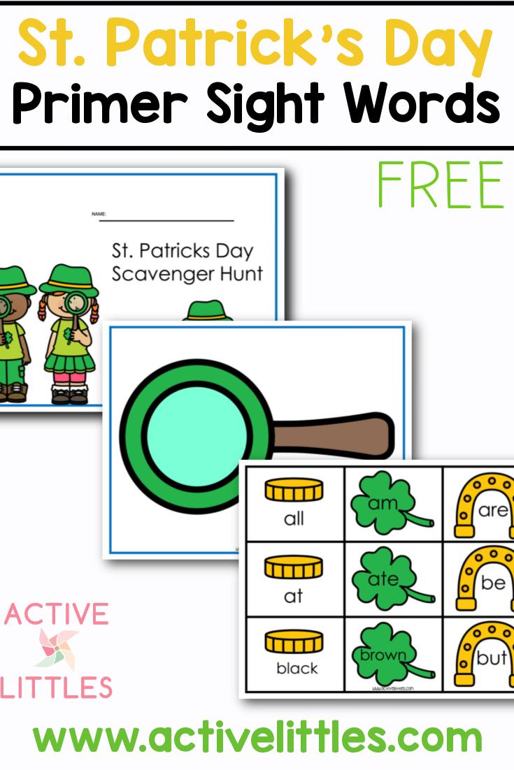 St. Patricks Day Primer Sight Words Free Printable for Kids