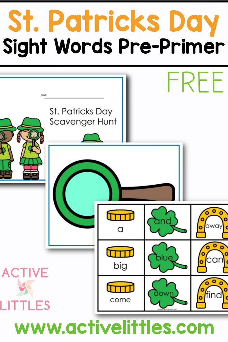 St. Patricks Day Sight Words Pre Primer Free Printable for Kids