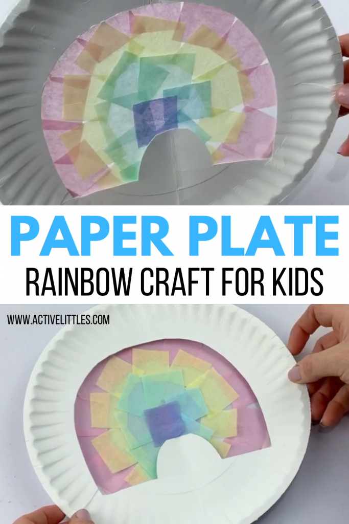 paper plate rainbow tissue paper craft for kids