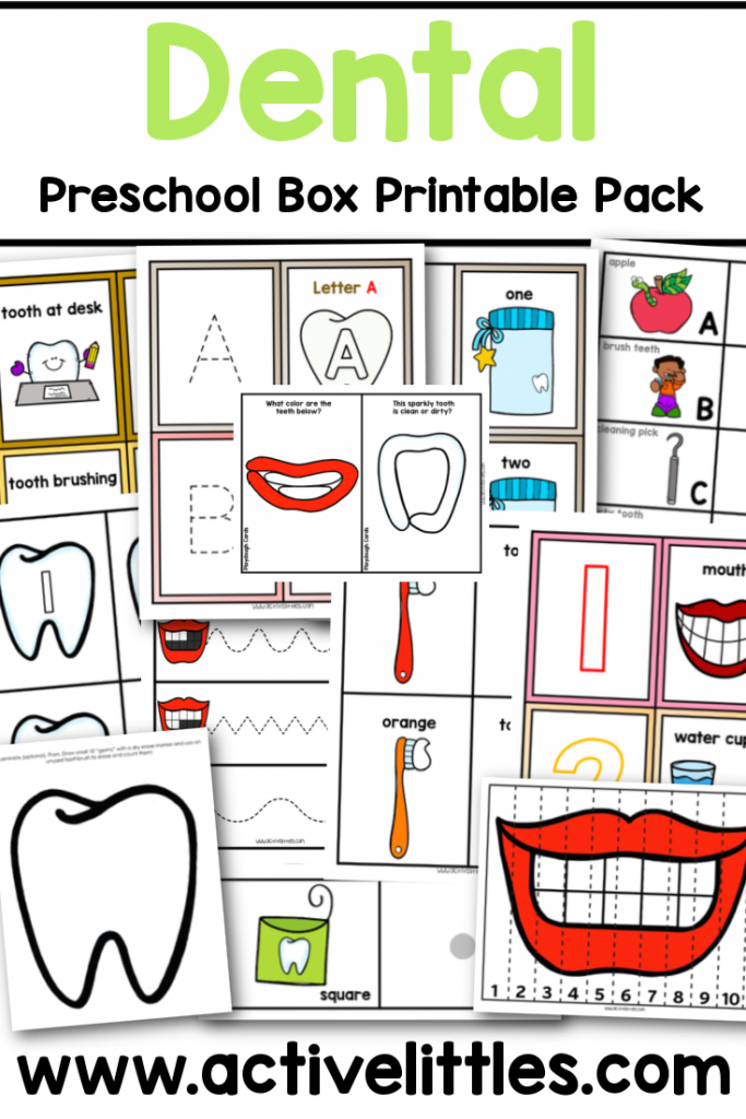 dental preschool box printable pack for preschool