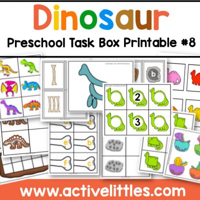 dinosaur preschool task box printable - Active Littles