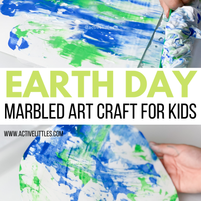 earth day marbled art craft for kids