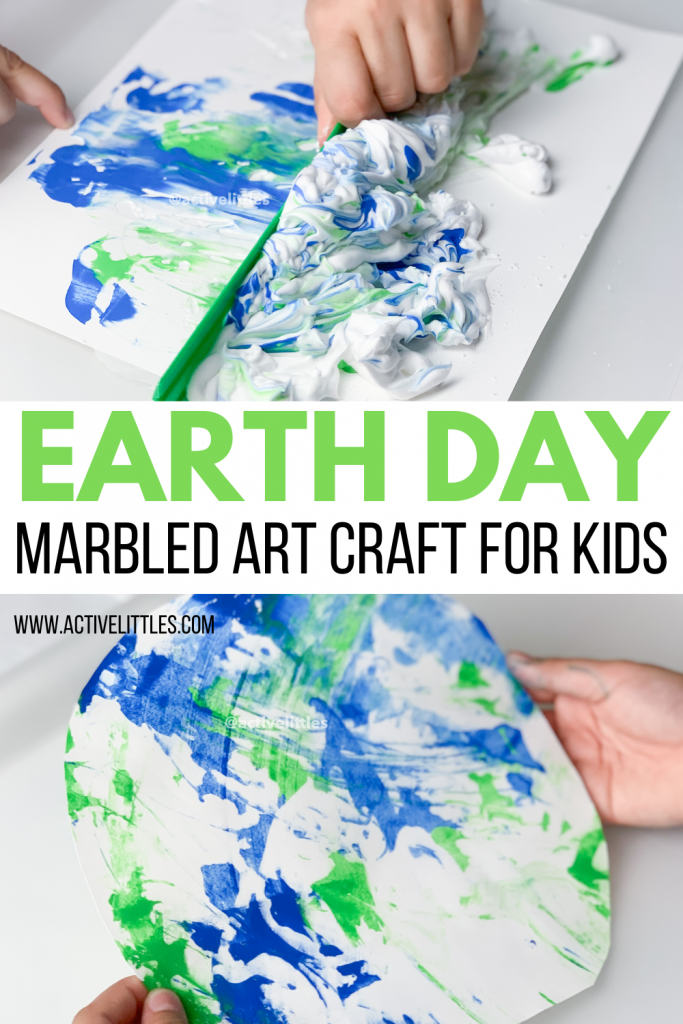earth day marbled craft for kids