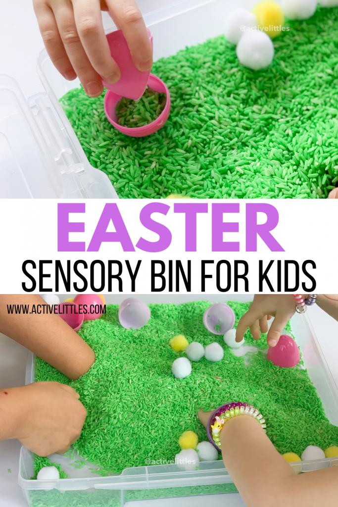 easter sensory bin for kids