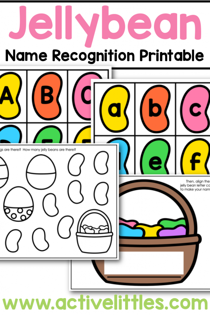 jellybean name recognition printable for kids