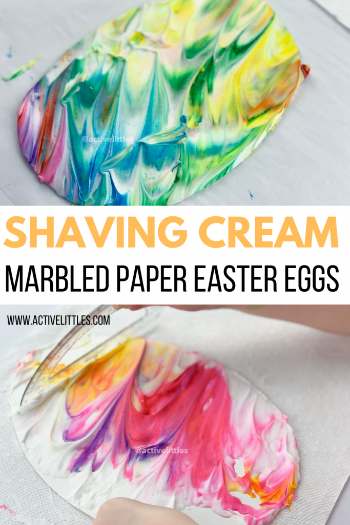 shaving cream marbled easter eggs for easter