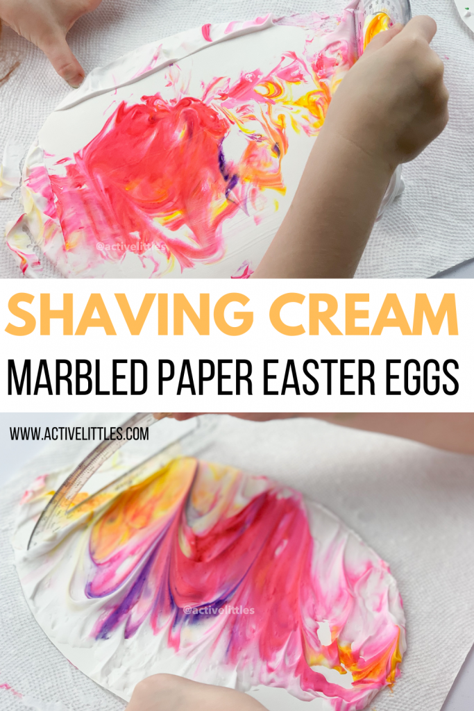 shaving cream marbled easter eggs kids activity