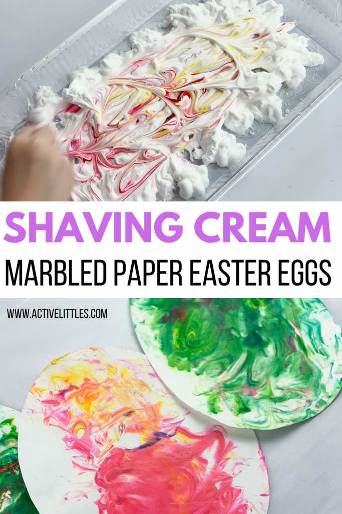 simple shaving cream marbled paper easter eggs
