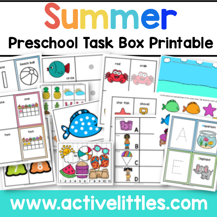 Paquete preescolar de verano imprimible