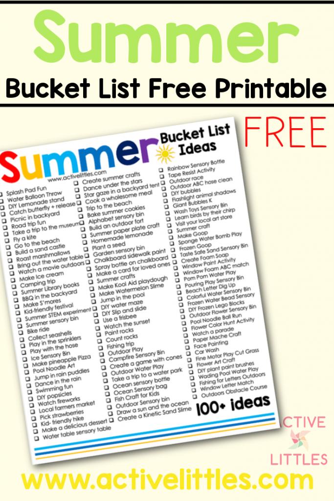 summer bucket list ideas free printable
