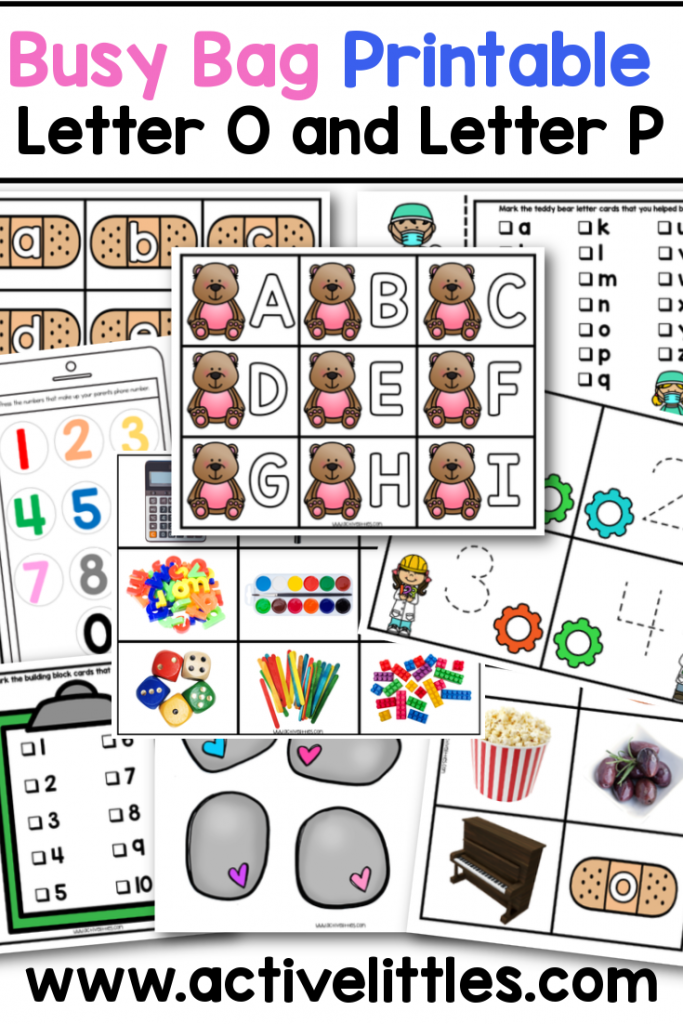 busy bag printable ideas letter o and letter p preschool