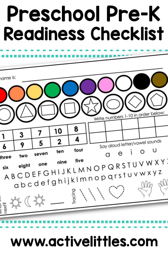 preschool prek readiness checklist printable