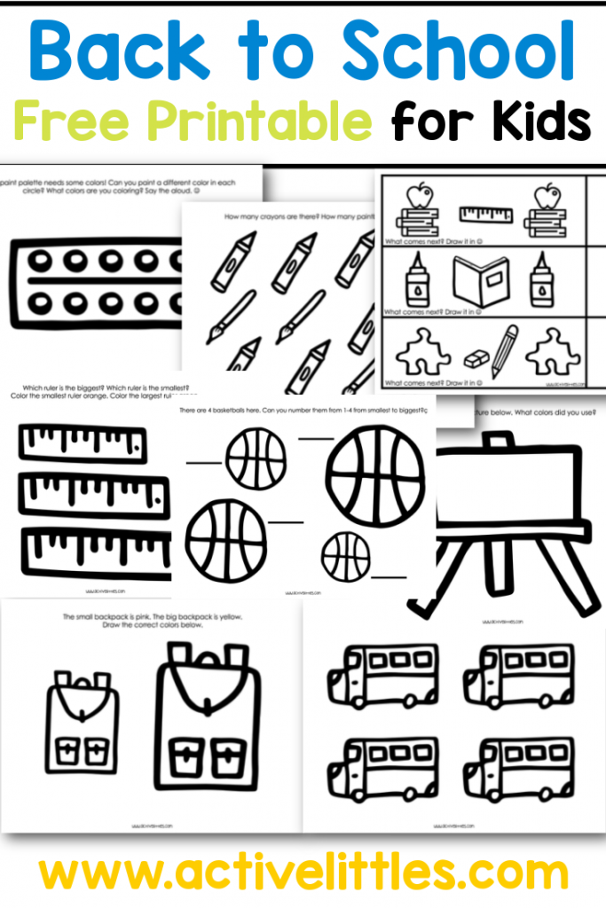 Back to School Free Printable for Kids