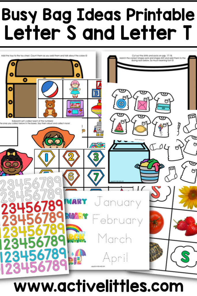 busy bag ideas printable letter s and letter t