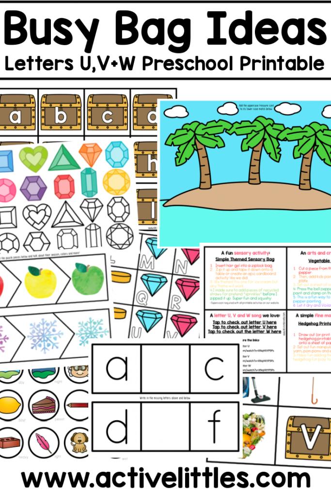 busy bag ideas printable letters u v w printable