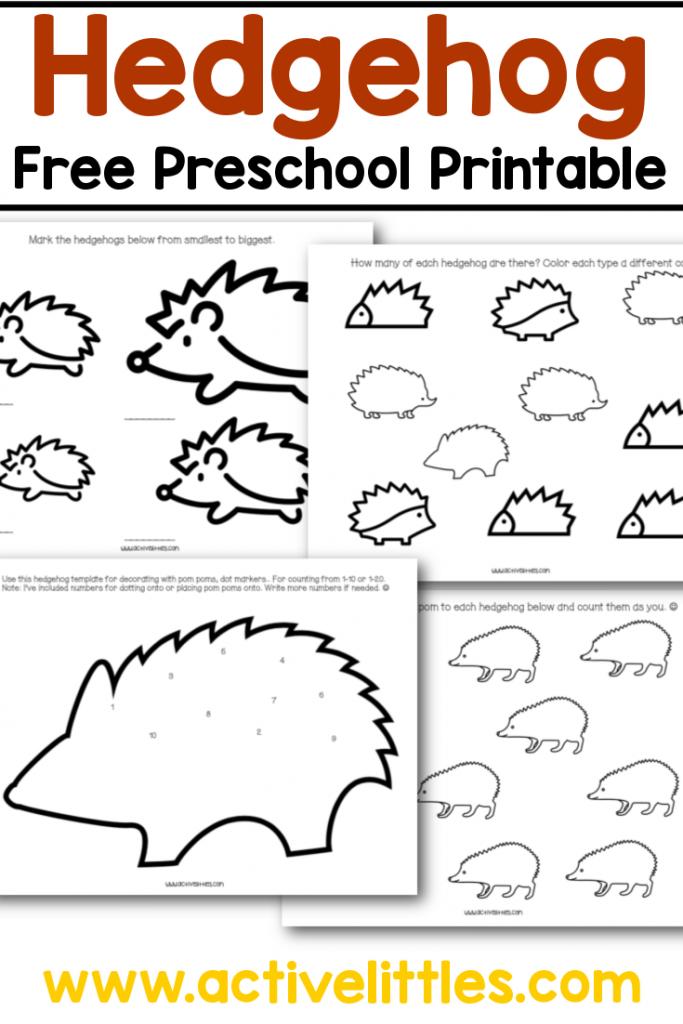 hedgehog free preschool printable